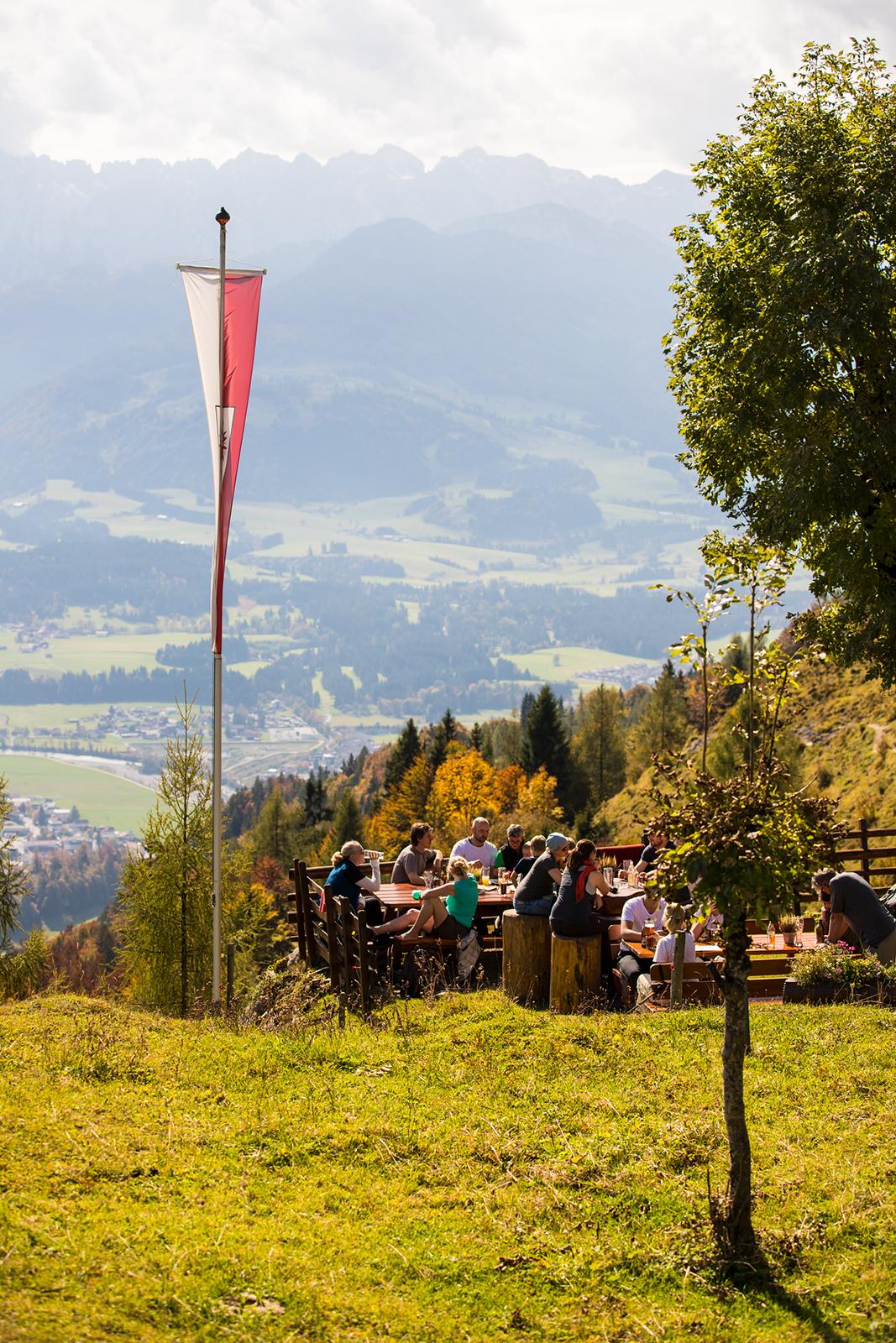 Blick von der Taubenseehütte zum Kaisergebirge. Kaiserwinkl, Tirol