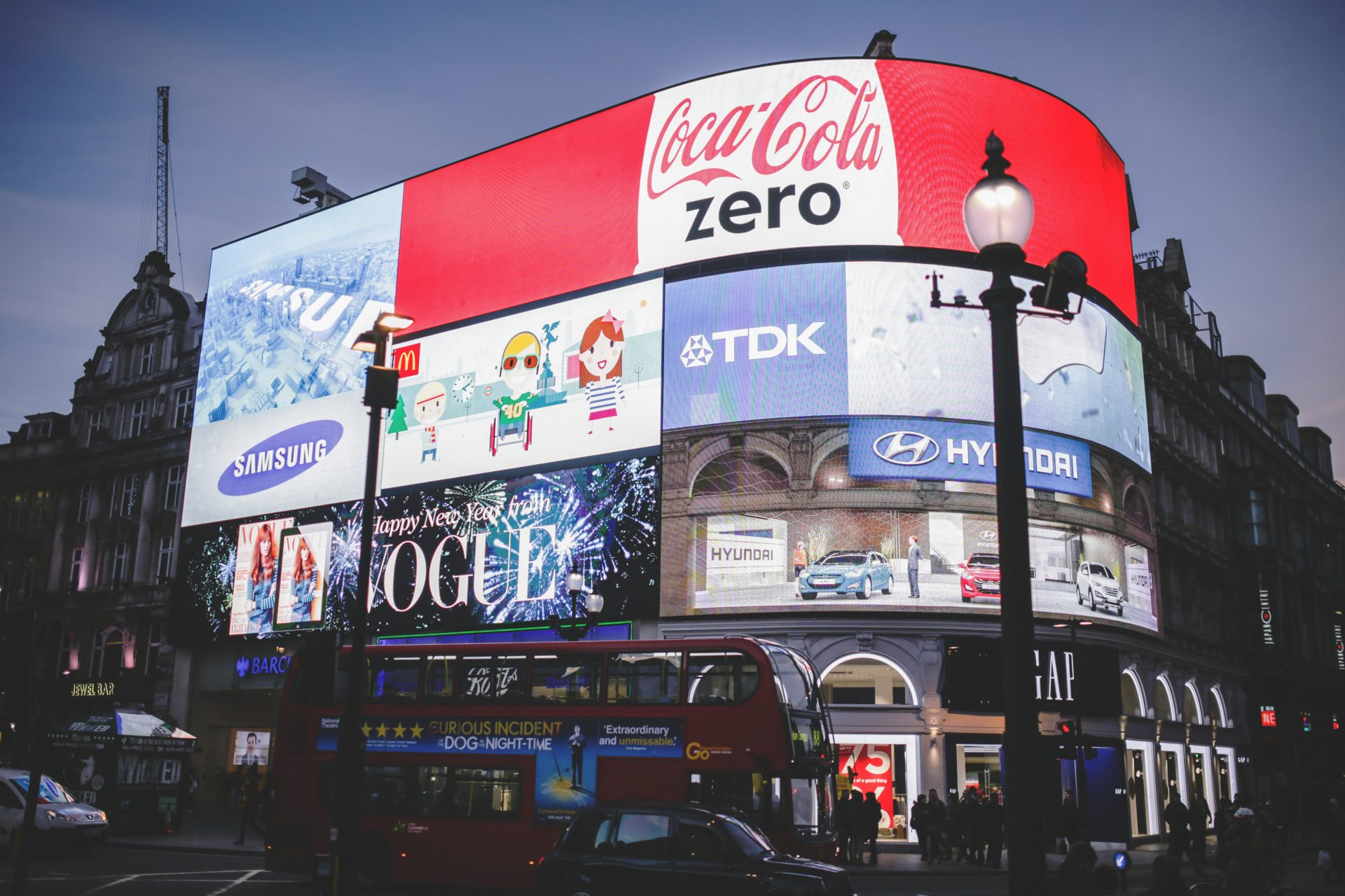 The Piccadilly Circus in London