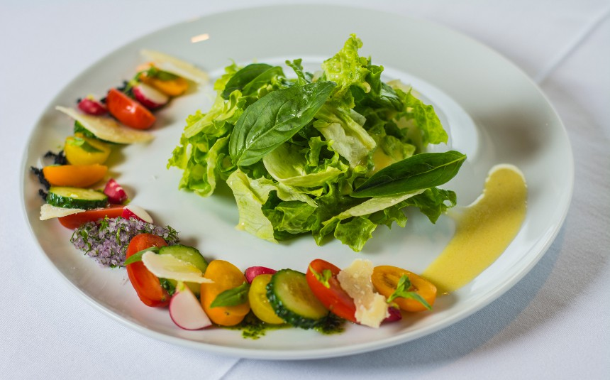 Cucumber and cherry tomato salad, homemade cow's cheese, olive oil-aEstivum Restaurant